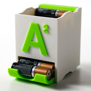 The front side of the AA battery holder.