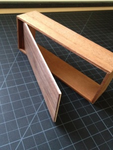 This shows the lamination of basswood and walnut for strength and flatness.