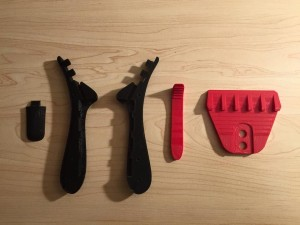 All five printed parts for the 3D printed ice scraper.